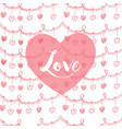 valentines card with heart and lovw text in pink vector image