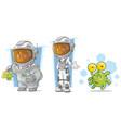 cartoon spaceman with alien character set vector image
