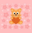background with funny cat cartoon vector image