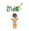 boy kid teenager holding indian flag in hands vector image