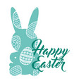 green silhouette rabbit and egg happy easter vector image