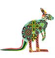 kangaroos in ethnic ornaments vector image