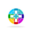 Medical cross colorful particles science digital vector image