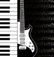 Music background with keyboard guitar and stave vector image