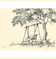 swing under the tree playground vector image