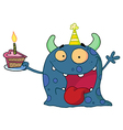 Spotted Blue Birthday Monster Wearing A Party Hat vector image