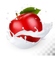Red apple in a milk splash on a transparent vector image vector image