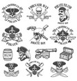 set of pirate emblems isolated on white vector image