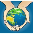 Hands giving and holding globe vector image