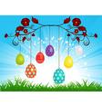 Dangling Easter eggs on blue sky landscape vector image