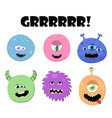 cute cartoon round monsters set collection of vector image