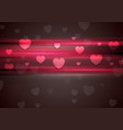 Dark pink glowing stripes and hearts background vector image