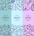 hand drawn sports equipment vertical banner vector image