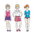 happy young adult girls female standing wearing vector image