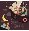 Cute animals swimming on boat in the night sky vector image