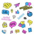 Pop art set with fashion patch badges Social vector image