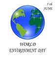 Blue planet with green continents Stylized glossy vector image