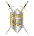 crossed swords and shield vector image