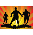 soccer silhouettes vector image vector image
