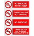 labels set no smoking stickers vector image vector image