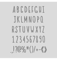 chalk sketched striped alphabet abc font vector image