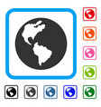 earth framed icon vector image