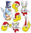 snowman cat hare rabbit vector image
