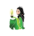 woman drinking tea vector image