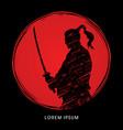 samurai warrior with sword vector image