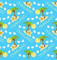seamless background with palmtrees plumeria vector image