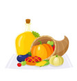 colorful thanksgiving food decoration elements vector image