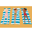 Three girls sunbathing vector image