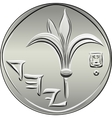 Obverse Israeli silver money one shekel coin vector image vector image