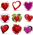 3d red and pink stylized hearts collection Set of vector image vector image