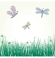 dragonfly with stylized blossoms vector image
