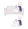 girl reading book on sofa while cat playing vector image