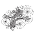 Hand drawn of two Koi fishes with lotus leav vector image
