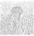 jellyfish medusa in zentangle style Hand drawn Sea vector image