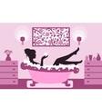 woman relaxing in bath foam vector image