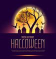 halloween poster with grave and tree vector image