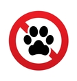 No Dog paw icon Pets symbol Prohibition sign vector image