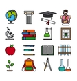 Education color line icons vector image