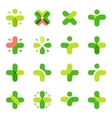 Isolated abstract green color cross logo set vector image