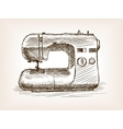 Sewing machine sketch style vector image
