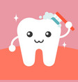 tooth character cleaning itself with toothbrush vector image