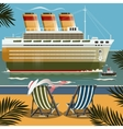 Cruise ship near the shore vector image
