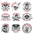 pirate emblems onwhite background corsair skulls vector image