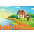 A farmer feeding his ducks vector image vector image
