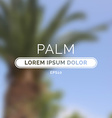 Summer palm blurred unfocused retro background vector image