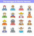 movie heroes avatar icon set vector image